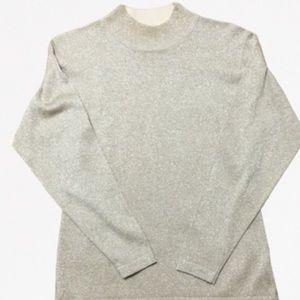 Vintage mock turtleneck sweater metallic gold M